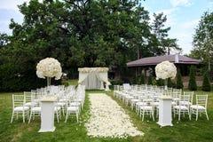 Decorações da cerimônia de casamento Fotografia de Stock