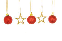 Decorações do Natal das estrelas e das quinquilharias Imagem de Stock Royalty Free