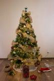 Decorando a árvore dos christmass imagem de stock