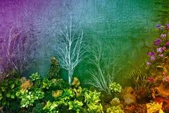 Decorando as paredes arranjando árvores e pedras Imagens de Stock Royalty Free