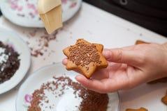 Decorando biscoitos do pão-de-espécie Imagens de Stock