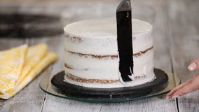 Decorando o bolo com creme Bolos mestres culin?rios do projeto da classe, bolo de creme por um feriado video estoque