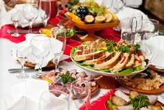 Decoração ajustada da tabela do alimento da restauração Imagens de Stock