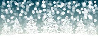 Decoração das árvores de Natal no fundo do bokeh da neve Foto de Stock