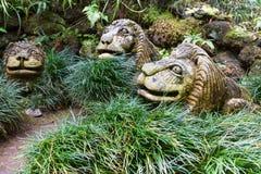 Decoração do jardim no estilo oriental Jardim tropical do palácio de Monte Funchal, Portugal Fotografia de Stock Royalty Free