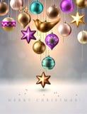 Decoração do Natal, quinquilharias, bolas, pássaro e estrela, vetor Foto de Stock Royalty Free