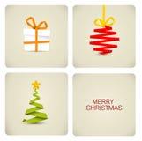 Decoração simples do Natal feita do papel Fotografia de Stock Royalty Free