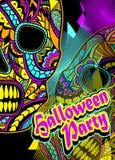 Ιπτάμενο στο κόμμα αποκριών με Decorate τη χρωματισμένη κρανίο διακόσμηση Στοκ Εικόνα