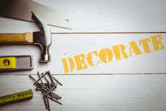Decorate  against desk with tools Royalty Free Stock Photography