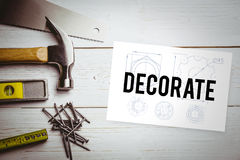 Decorate  against white card Stock Photo