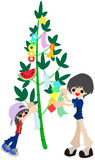 Decorate a bamboo for Festival of the Weaver Stock Photo