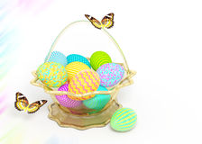 Decorate basket with colorful Easter eggs Royalty Free Stock Photography