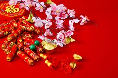 Decorate chinese new year 2019 on a red background(Chinese characters . FU. in the article refer to good luck, wealth, money flow. ) Empty space for design stock image
