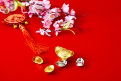 Decorate chinese new year 2019 on a red background(Chinese characters . FU. in the article refer to good luck, wealth, money flow. ) Empty space for design stock photography