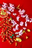 Decorate chinese new year 2019 on a red background(Chinese characters . FU. in the article refer to good luck, wealth, money flow. ) Empty space for design royalty free stock images