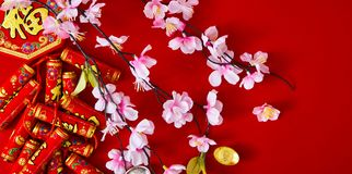 Decorate chinese new year 2019 on a red background(Chinese characters . FU. in the article refer to good luck, wealth, money flow. ) Empty space for design royalty free stock photo