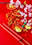 Decorate chinese new year 2019 on a red background(Chinese characters . FU. in the article refer to good luck, wealth, money flow. ) Empty space for design royalty free stock photos