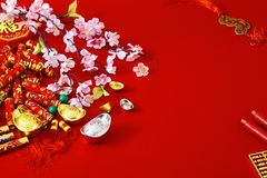 Decorate chinese new year 2019 on a red background(Chinese characters . FU. in the article refer to good luck, wealth, money flow. ) Empty space for design stock photos