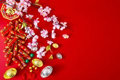 Decorate chinese new year 2019 on a red background(Chinese characters . FU. in the article refer to good luck, wealth, money flow. ) Empty space for design stock images