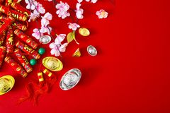 Decorate chinese new year 2019 on a red background(Chinese characters . FU. in the article refer to good luck, wealth, money flow stock photos