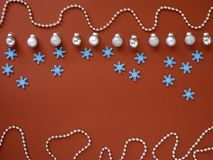 Decorate Christmas and New Year on red background royalty free stock photography