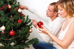 Decorate christmas tree Stock Photos