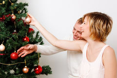Decorate christmas tree Stock Photo