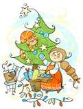 Decorate the Christmas tree royalty free stock photos