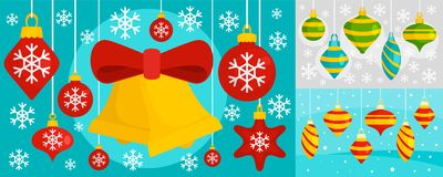 Decorate Christmas tree toys banner set, flat style vector illustration