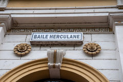 Decorate the entrance of the railway station Herculane Royalty Free Stock Photos