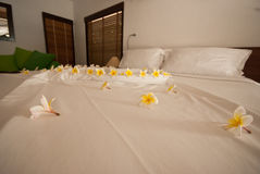 Decorate flower on the bed Royalty Free Stock Photo