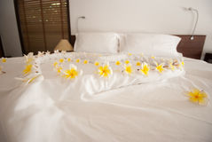 Decorate flower on the bed Royalty Free Stock Photography