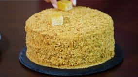 Decorate fresh homemade honey cake `Medovik`