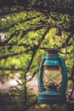 Decorate Garden With Vintage Lantern Lamp stock images
