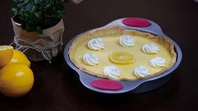 Decorate the lemon tart. stock video