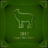 Decorate sheep on green background. Green New Years background with little sheep, illustration royalty free illustration