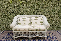 Decorate sofa and carpet against the green small tree wall. Royalty Free Stock Photo