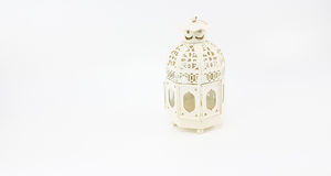 Decorate white metal lantern case for set up on table or hanging Royalty Free Stock Image