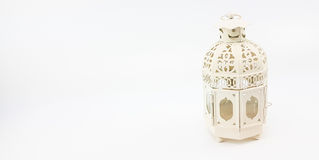 Decorate white metal lantern case for set up on table or hanging Stock Photos