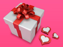 Decorated 3d gift box with heart Royalty Free Stock Image