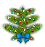 Decorated abstract Christmas tree with glass balls Stock Photography