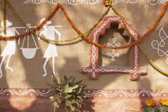 Decorated adobe mud wall Royalty Free Stock Image