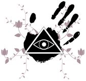 Decorated All-Seeing Eye isolated on hands with decoration. Illustration representing a version of one of the most esoteric symbol: the All-Seeing Eye Royalty Free Stock Photography