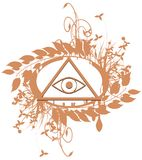 Decorated All-Seeing Eye isolated. Illustration representing a version of one of the most esoteric symbol: the All-Seeing Eye Royalty Free Stock Photography