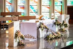 Decorated altar during the first holy communion Royalty Free Stock Photo