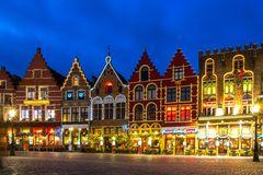 Decorated And Illuminated Market Square In Bruges, Belgium Stock Images