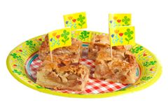 Decorated apple pie for a kids birthday party Stock Image