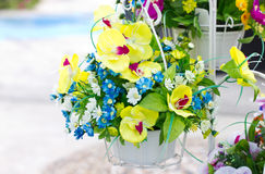 Decorated Artificial Flowers. Royalty Free Stock Photo