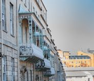 Decorated balconies in Bristol stock photos