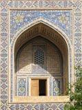 Decorated balcony. Detail of Minarets of Registan, Samarkand, Uzbekistan stock photography